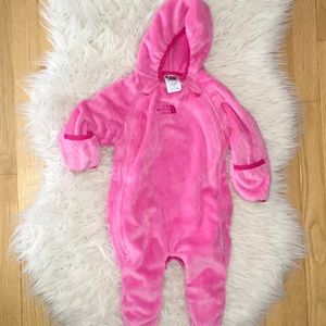 The North Face Baby Bunting Snowsuit Fleece Toddler Pink Hoodie 18M 24M NWT